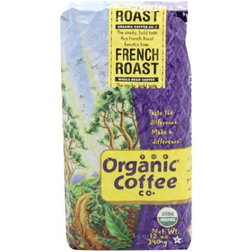 The Organic Coffee Co. Whole Bean, French Roast, 12 Ounce (Pack of 2)