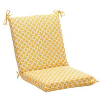 Pillow Perfect Outdoor Chair Cushion - Yellow/White Geometric