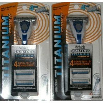 Schick Quattro Titanium Power Razor w/ 5 Cartridges & Battery Pile (Pack of TWO)