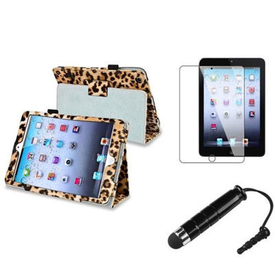 Insten iPad Mini 3/2/1 Case, by INSTEN Black/Brown Leopard For iPad Mini 1 2 3 Magnetic PU Leather Folio Case Cover Stand