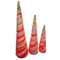 Lighted Sisal Cone Assortment - Set of 3