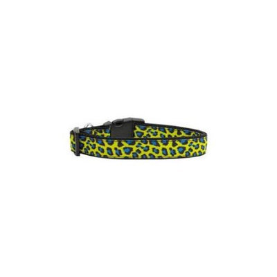Ahi Blue and Yellow Leopard Nylon Dog Collars Large