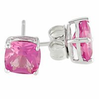 Amour Silver Created Sapphire Earrings, Silver, Pink, 1 pr