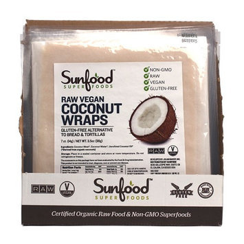 SunFood Superfoods Coconut Wraps Raw Vegan 7 Wraps