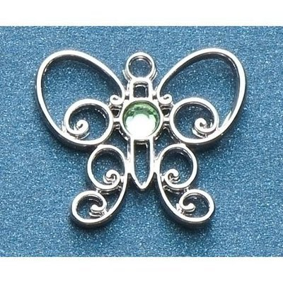 Roman Pack of 8 Jeweled Silver Scroll Butterfly August Birthstone Pins 1