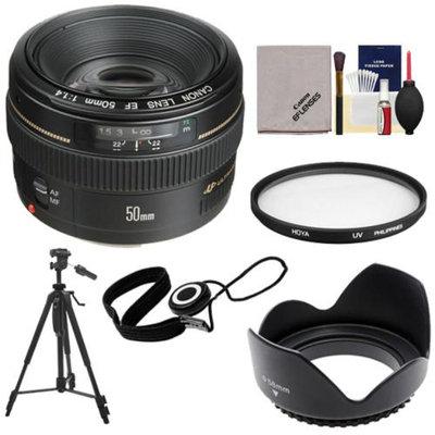Canon EF 50mm f/1.4 USM Lens with Hoya UV Filter + Hood + Tripod + Accessory Kit for EOS 60D, 7D, 5D Mark II III, Rebel T3, T3i, T4i Digital SLR Cameras