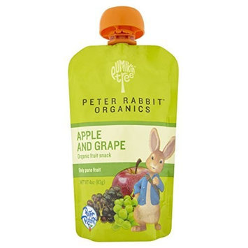 Peter Rabbit Organics, Organic Apple and Grape 100% Pure Fruit Snack, 4-Ounce Pouches (Pack of 10)