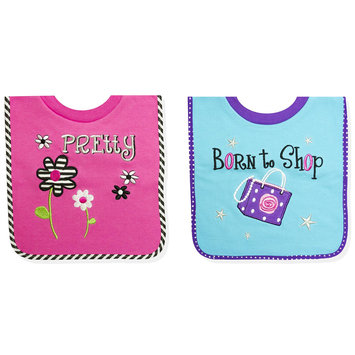 Tender Kisses Infant Girl's 2 Pack Bibs Born to Shop - Rose Art