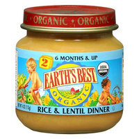 Earth's Best Second Foods Organic Baby Food Rice & Lentil Dinner