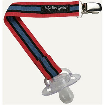 Baby Dry Goods 03037 RoyalRedBlack Stripes Pacifier Clip