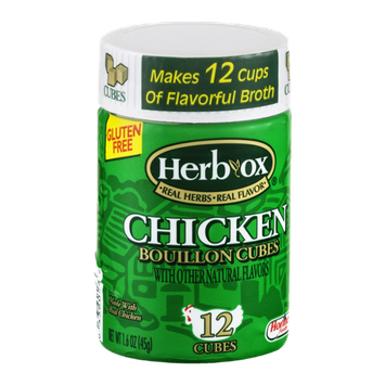 Herb-Ox Gluten Free Bouillon Cubes Chicken Flavor - 12 CT