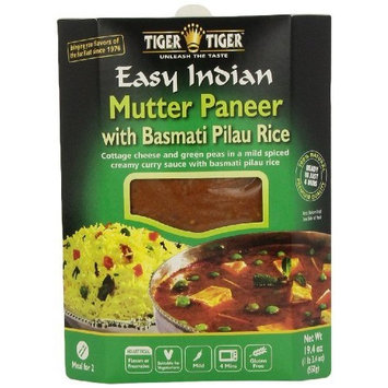 Tiger Tiger Tiger Easy Indian Heat & Eat, Mutter Paneer with Basmati Pilau Rice, 19.4-Ounce Boxes (Pack of 6)
