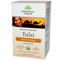 Organic India Tulsi Tea Lemon Ginger 18 Tea Bags Case of 6