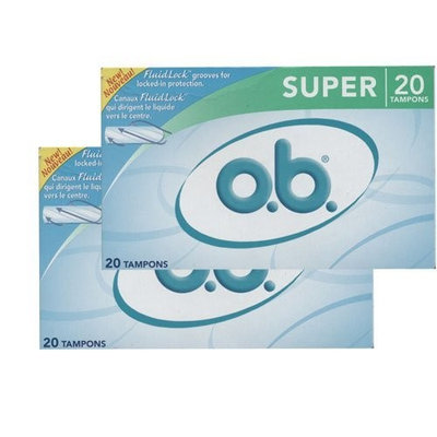 O.B. Tampons Super with 20 in total (Pack of 2)