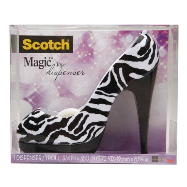 Scotch Magic Tape Shoe Dispenser, Zebra, 1 ea