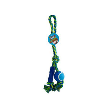 Bulk Buys OC433 Dog Rope Toy With Ball And Rubber Spikes Case of 24