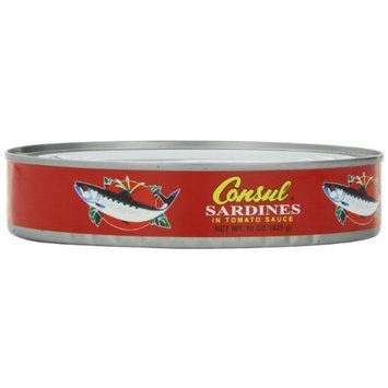Roland Consul Sardines in Tomato Sauce, 15-Ounce Cans (Pack of 24)