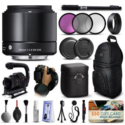 47th Street Photo Sigma 60mm F2.8 DN Art Black Lens for Sony E-Mount NEX (350965) with Deluxe Accessories Package includes 3 Piece Filter Set (UV-CPL-FLD) + Stabilizer Handle + Sling Backpack + 67 Monopod + Wrist Strap + Cleaning Kit + Air Dust Blower + $50 Gift Card