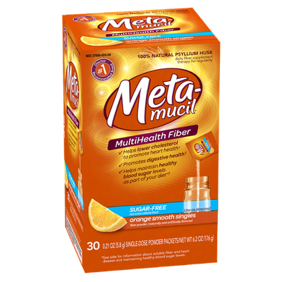 Metamucil Orange Sugar Free Smooth Texture Powder Packets 30 Count