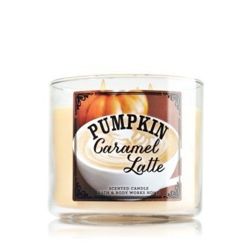 Bath & Body Works 3-wick Candle Pumpkin Caramel Latte (Pumpkin Cafe Collection) Limited Edition 2014 Scented Candle 14.5 Oz/411g