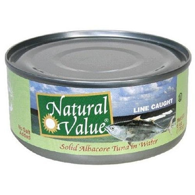 Natural Value Tuna, Solid No Salt Albacore in Water, 6-Ounce Cans (Pack of 24)