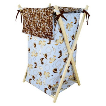 Trend Lab Tan/Blue Cowboy Baby Hamper Set