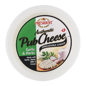 President Authentic Pub Cheese Spreadable Cheese Garlic & Herbs