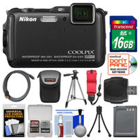 Nikon Coolpix AW120 Shock & Waterproof Wi-Fi GPS Digital Camera (Black) with 16GB Card + Case + Battery + Tripod + Float Strap + Kit