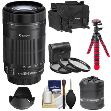 Canon EF-S 55-250mm f/4.0-5.6 IS STM Zoom Lens with 3 UV/CPL/ND8 Filters + Hood + Case + Flex Tripod + Kit for Digital SLR Cameras