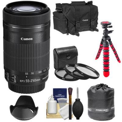 Canon EF-S 55-250mm f/4.0-5.6 IS STM Zoom Lens with 3 UV/CPL/ND8 Filters + Hood + Case + Flex Tripod + Kit for Digital SLR Cameras