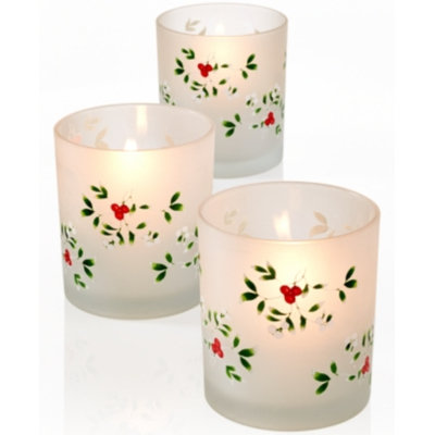 Pfaltzgraff Winterberry Set of 3 Frosted Votives
