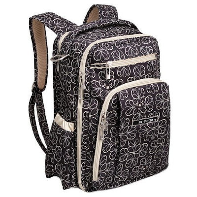 Ju Ju Be Ju-Ju-Be Be Right Back Backpack Diaper Bag, Black/Silver