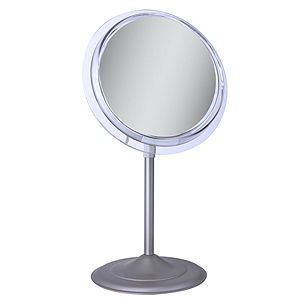 Zadro Surround Light Satin Nickel Lighted Flourescent Single Sided Make Up Mirror