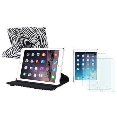 Insten INSTEN For iPad Air 2 2nd Gen White/Black Zebra Ultra Slim Multi Angle Stand Leather Case + 3x Anti-Glare Protector