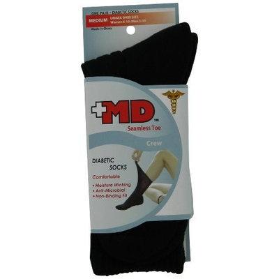 MD USA Seamless Toe Crew Diabetic Sock. Large, Black (Pack of 2)