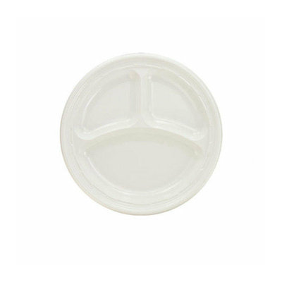 DART 9'' 3 Compartments Plastic Round Plates 125/Pack in White