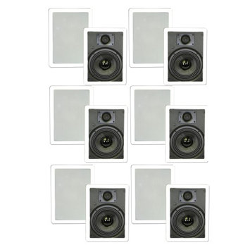 Theater Solutions 6.5 In Wall Deluxe HD Surround Sound HD Home Speakers 6 Pair Pack 3000 Watts 6TSS6W