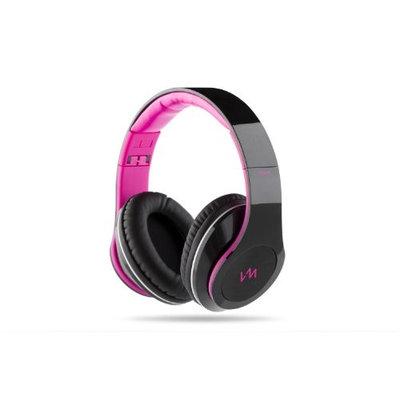 VM Audio Elux Over-Ear Hyperbass Headphones - Piano Black/Pink