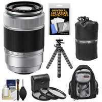 Fujifilm 50-230mm f/4.5-6.7 XC OIS Zoom Lens (Silver) with 3 UV/CPL/ND8 Filters + Backpack + Tripod Kit for Fuji X-A1, X-E1, X-E2, X-M1, X-Pro1 Digital Cameras