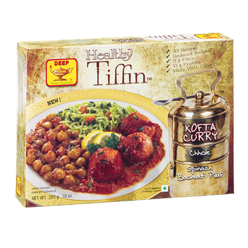 Deep Healthy Tiffin Kofta Curry Chhole Spinach Basmati Pilaf