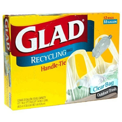 Glad Recycling Bags, Clear, 33 Gallon, 12-Count (Pack of 12)
