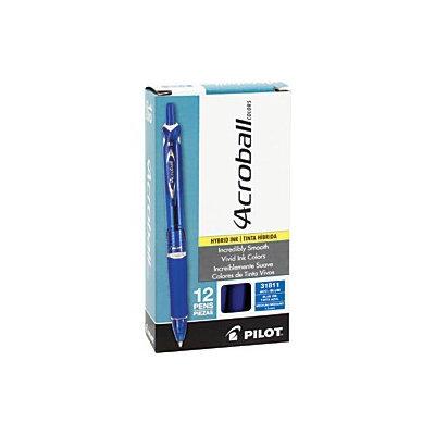 Pilot(R) Acroball Retractable Hybrid Gel Pens, Medium Point, 1.0mm, Translucent Blue Barrel, Blue Ink, Pack Of 12