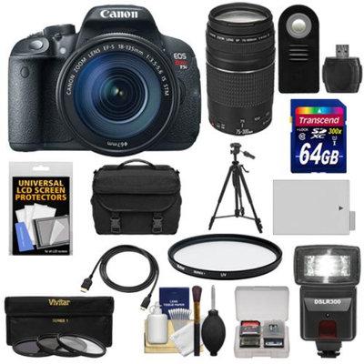 Canon EOS Rebel T5i Digital SLR Camera & EF-S 18-135mm IS STM Lens with EF 75-300mm III Lens + 64GB Card + Battery + Case + Flash + 3 Filters Kit