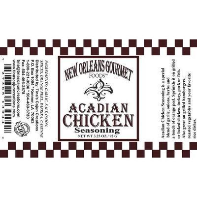 New Orleans Gourmet Acadian Chicken Seasoning
