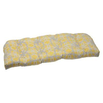 Pillow Perfect Outdoor Wicker Loveseat Cushion - Yellow/Gray Keene