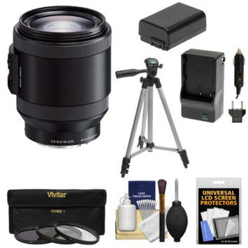 Sony Alpha E-Mount 18-200mm f/3.5-6.3 OSS PZ Zoom Lens with 3 Filters + Tripod + NPFW50 Battery & Charger + Kit for A7, A7R, A7S, A3000, A5000, A5100, A6000 Cameras