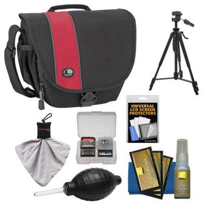 Tamrac 3444 Rally 4 Digital SLR Camera Case (Black/Red) with Tripod + Nikon Cleaning Kit for Nikon D3200, D5200, D5300, D7100, D600, D800
