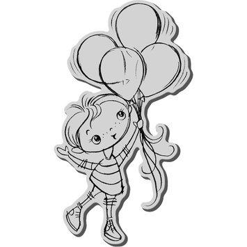 Stampendous Inc Stampendous Cling Rubber Stamp-Balloon Kiddo