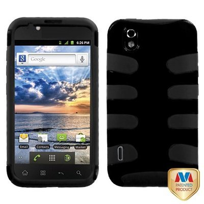 MYBAT Natural Black Fishbone Phone Protector Cover for LG LS855 (Marquee)
