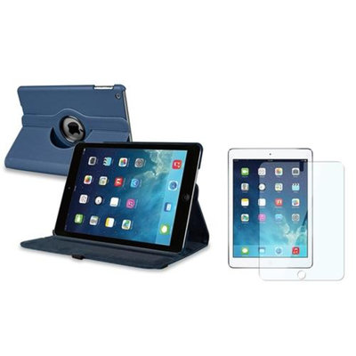 Insten INSTEN Navy Blue 360 Rotating Leather Case Cover+LCD Protector For Apple iPad Air 5 5th Gen